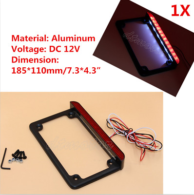 Universal Motorcycle LED License Plate Frame LED Brake Tail Light For Harley