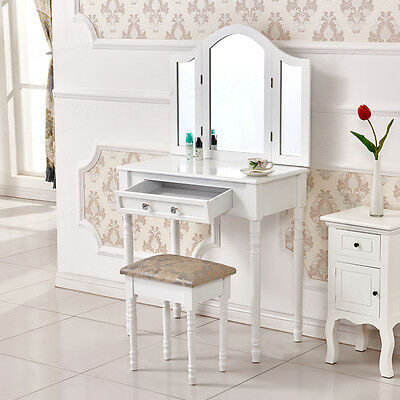 Wooden White Dressing Table with Panel Mirror, Drawer, Stool Bedroom Makeup Desk