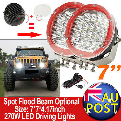 """7"""" 540W CREE Spot Beam LED Work Light Replace HID Offroad Driving Lamps 4WD RED"""