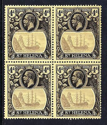 ST HELENA 1922-37 4d GREY & BLACK/ YELLOW IN BLOCK SG 92 MINT/ MNH.