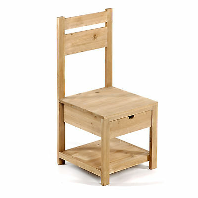 Rustic Shabby Chic Wooden Childs Kids Playroom Chair with Drawer 28 x 28 x 62CM