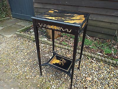 Antique Chinoiserie Black Japanned Lamp Side Table c1890