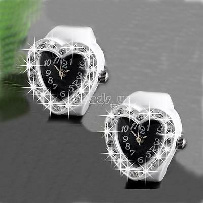 Fashion Women Finger Ring Watch Heart Shape Crystal Quartz Pocket Watches Gift