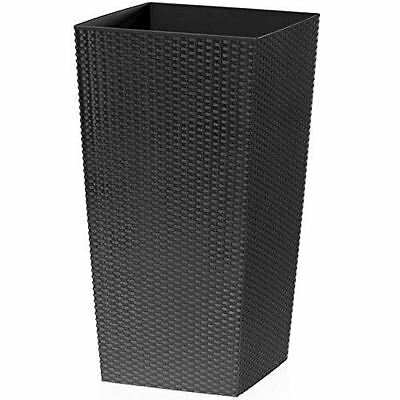 Tall Large Rattan Planter Square Plastic Indoor & Outdoor Use (Black, 26.6L)
