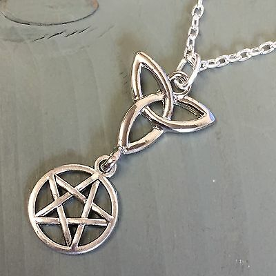 "Triquetra & Pentagram Stackable Pendant 18"" Necklace Pendant Amulet Wicca Pagan"