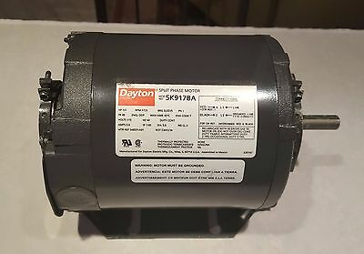 Dayton Electric Motor, 1/3 HP, Split Phase, 1725 RPM, 115V, 5.6A, 48 Frame