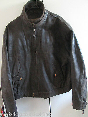 Vintage Life by Najee Leather Jacket Size M Metal Zipper Lined Biker Neck