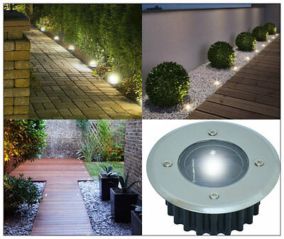 Solar Decking Lights Bright White Led Garden Deck Patio Driveway Stainless Steel