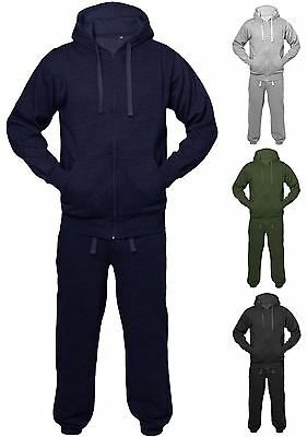 New Mens Womens Unisex Sports Hoodie Plain Jogging Jacket Full Tracksuit Set