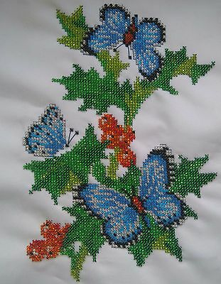 Picture-embroidery-beads-handmade- butterfly on a branch of a currant