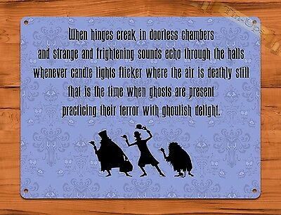 TIN SIGN Disney Haunted Mansion Hitchhiking Ghosts Quote Ride Art Poster