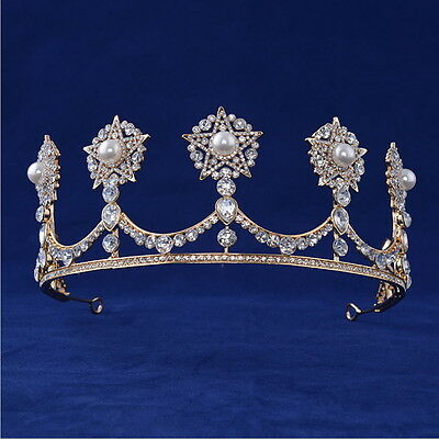 6cm High Gold Stars Pearl Crystal Wedding Bridal Party Pageant Prom Tiara Crown