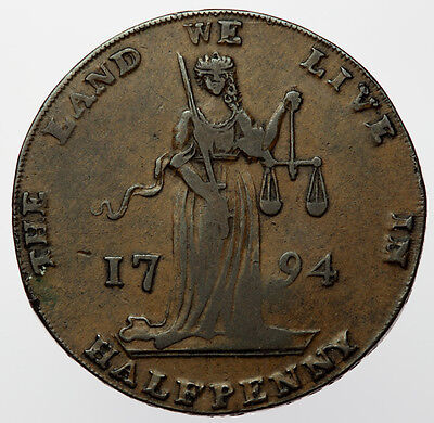 1794 Dublin L&R Halfpenny ~ D&H338 Ireland ~ The Land We Live In