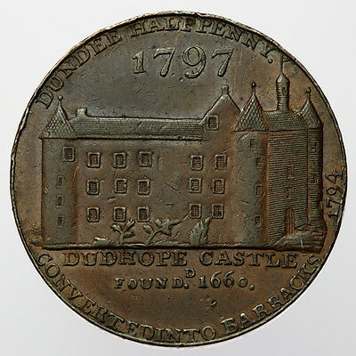 1797 Dundee Halfpenny ~ D&H19 Angusshire, Scotland ~ Dudhope Castle