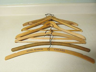 Lot Of 6 Vintage Wooden Clothes Coat Hangers Advertising Hotel Pearson Chicago
