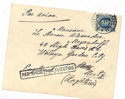 DA49 1927 BELGIUM EARLY AIR MAIL Very Fine Cover to England