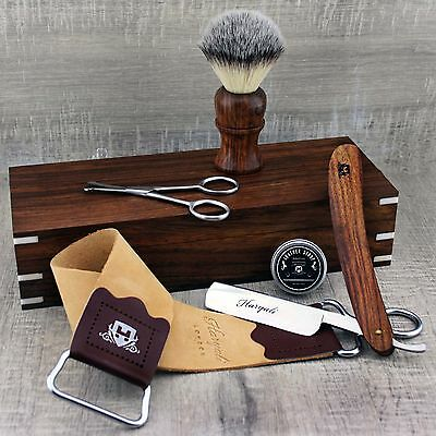 Vintage Barber Shaving Wooden Set Synthetic Brush & Straight Cut Throat Razor