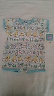 NEW Vintage Little Me Infant Baby Coverall Shortall Outfit~9 mth Bunny Chicks