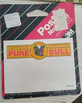 """Vintage 1990 Post-it """"100 Percent Pure Certified Bull"""" Sticky Notes"""