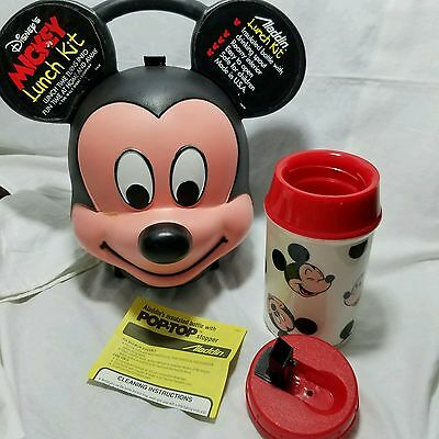 Vtg 1980 Mickey Mouse Head Lunchbox Plastic Thermos 8oz By Aladdin NOS