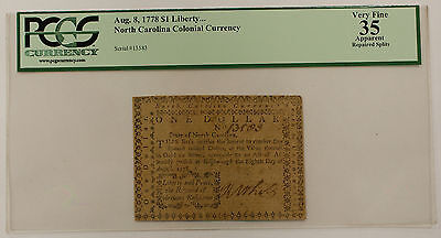 1778 $1 Liberty North Carolina Colonial Currency, PCGS VF-35 Apparent AKR