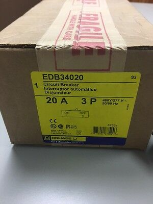 NEW IN BOX EDB34020 Square D Circuit Breaker 3 Pole 20 Amp 480 Volt