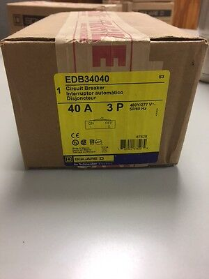 NEW IN BOX EDB34040 Square D Circuit Breaker 3 Pole 40 Amp 480 Volt