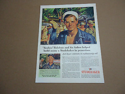 Vintage 1940's Studebaker Aviation Car Truck WWII Ad Advertising