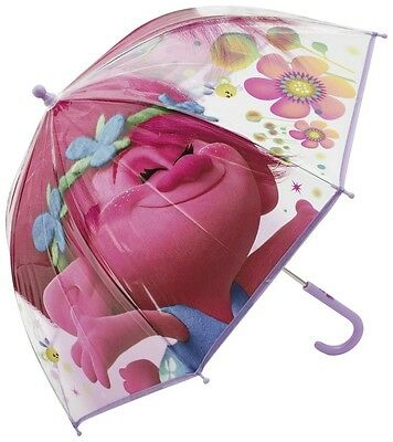 Official Dreamworks Trolls Children Kids Poppy Umbrella Girls School Wind Proof