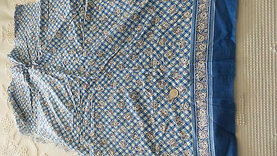 Vintage Feed Sack Feedsack Fabric OUTLINE FLORAL ON BLUE/WHITE PLAID, BORDER