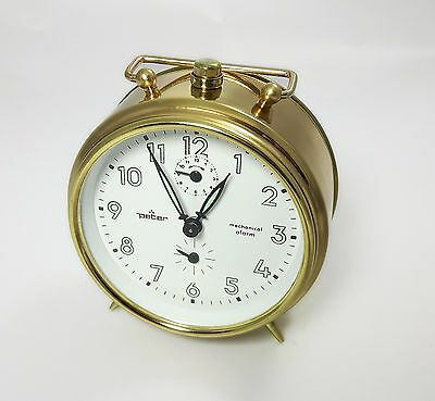Alarm Clock metal PETER ARONA Movement Mechanical Made in Germany