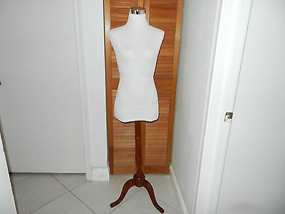 35/26/36 Female Torso White Cover Pinnable Dress Form with Wood Stand