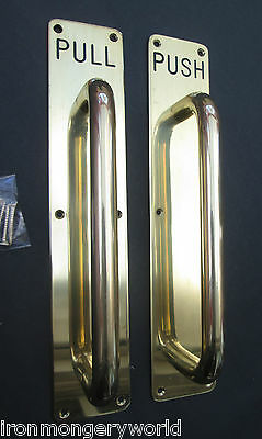 SOLID BRASS ENGRAVED Door Grab Pull Handle On Back Plate PUBS OFFICE BUSINESS