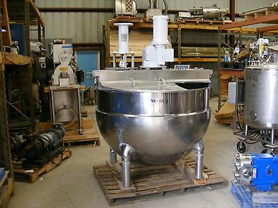250 Groen Kettle Jacketed Tank w Sweep and scraper Blades + High Shear Mixer