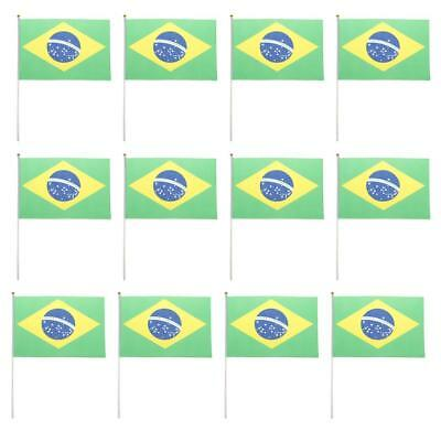 12Pcs Brazil Flag Small Hand Waving Flags With Pole Brazilian Rio World Cup