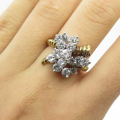 Vtg 925 Sterling Silver Gold Plated Real White Topaz Gemstone Ring Size 6