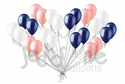 24 pc Coral White & Navy Blue Latex Balloons Party Decoration Birthday Baby Girl
