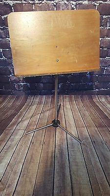 Vintage Retro Mid Century Chrome Wooden Menu Music Stand Drawing Picture