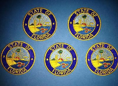 5 Lot State Of Florida Iron On Hat Jacket Biker Vest Backpack Travel Patches