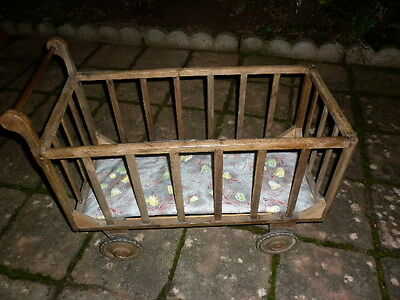 Vintage French Early 20th Century Rustic Oblong Wooden Pram / Cot on Wheels
