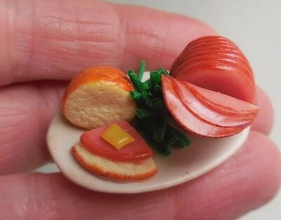 Dollhouse Miniature ~ Sliced Ham  Platter