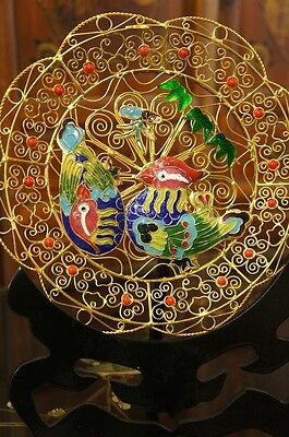 ~Quality Gold Oriental Cloisonne Ducks Plate w/ Stand ( B2 )