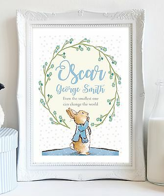 A4 Peter Rabbit Personalised Name Picture Print Christening Gift Baby Nursery