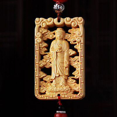 Hollow Out Wood Carving Chinese Shakyamuni Buddha Statue Double Side Car Pendant