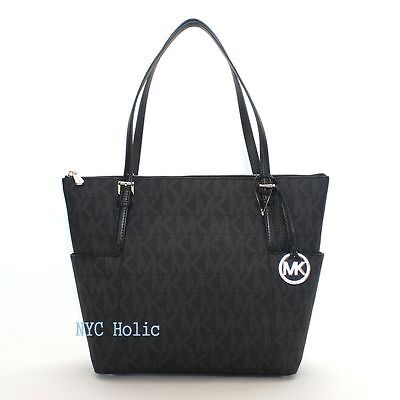 New Michael Kors Jet Set Zip Tote Bag East West Signature PVC Black MK NWT