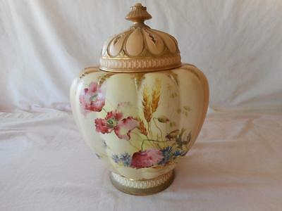 """Royal Worcester Large Potpourri Flowers Insect Butterfly 13"""" W Lid #1312 C 1897"""