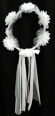 NEW Kids #0634 White Faux Flower Pearl Rhinestone Tulle Ribbon Communion Crown
