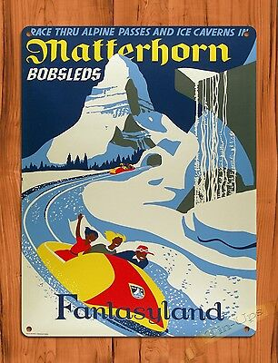 TIN SIGN Disney's Matterhorn Bobsleds Attraction Ride Art Poster