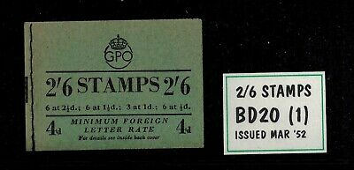 Bd20 (1)  2/6 Stitched Booklet March 1952 Kg.vi