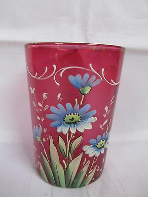 Antique Ruby Glass Beaker / Cup with Enamelled Blue Flowers Daisies ?